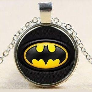 Other - Batman Logo Tibet Silver Glass Cabochon Necklace